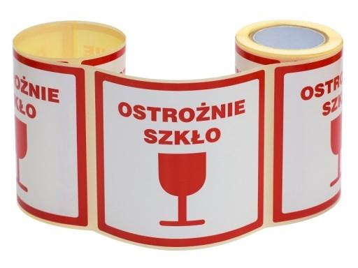 Etykieta - Ostrożnie Szkło 100x100 / 100